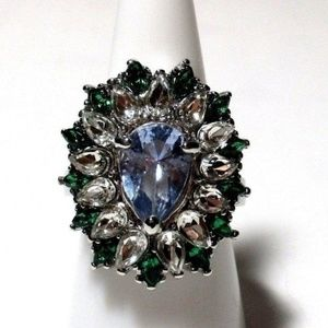 Ring Size 8 Simulated Diamond Emerald Sapphire 444